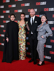 Kristin Scott Thomas, Alicia Vikander, Roar Uthaug and Jaime Winstone attending the Tomb Raider European Premiere held at Vue West End in Leicester Square, London.
