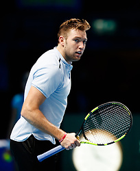 Jack Sock celebrates taking the second set during day three of the NITTO ATP World Tour Finals at the O2 Arena, London.