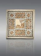 Pictures of a geometric Roman mosaics with strap work and cruciform flowers and in the centre a damaged depiction of a running deer, from the ancient Roman city of Thysdrus, Jilani Guirat area. 3rd century AD. El Djem Archaeological Museum, El Djem, Tunisia. .<br /> <br /> If you prefer to buy from our ALAMY PHOTO LIBRARY Collection visit : https://www.alamy.com/portfolio/paul-williams-funkystock/roman-mosaic.html . Type - El Djem - into the LOWER SEARCH WITHIN GALLERY box. Refine search by adding background colour, place, museum etc<br /> <br /> Visit our ROMAN MOSAIC PHOTO COLLECTIONS for more photos to download as wall art prints https://funkystock.photoshelter.com/gallery-collection/Roman-Mosaics-Art-Pictures-Images/C0000LcfNel7FpLI