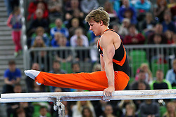 05-04-2015 SLO: World Challenge Cup Gymnastics, Ljubljana<br /> Epke Zonderland of Netherlands competes in Parallel Bar during Final of Artistic Gymnastics World Challenge Cup Ljubljana, on April 5, 2015 in Arena Stozice, Ljubljana, Slovenia. <br /> Photo by Morgan Kristan / RHF Agency