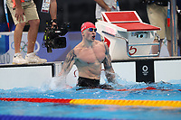 TOKYO, JAPAN - JULY 26: Adam Peaty of Great Britain reacts after he wins the Men's 100m Breaststroke and retains his Olympic title on day three of the Tokyo 2020 Olympic Games at Tokyo Aquatics Centre on July 26, 2021 in Tokyo, Japan<br /> <br /> Credit: COLORSPORT/Ian MacNicol