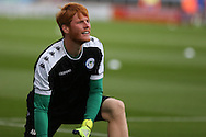 Ádám Bogdán of Wigan Athletic warms up before the EFL Cup match between Oldham Athletic and Wigan Athletic at Boundary Park, Oldham, England on 9 August 2016. Photo by Simon Brady.