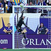 Orlando Pride goalkeeper Ashlyn Harris (1) makes a leaping save during a NWSL soccer match at Camping World Stadium on May 8, 2016 in Orlando, Florida. (Alex Menendez via AP)