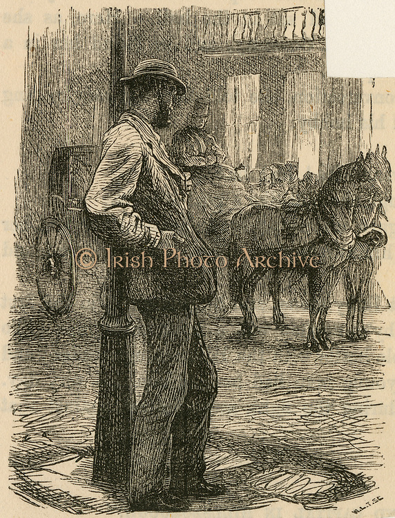Man fallen on hard times looking at the ife he once had. Engraving, 1869