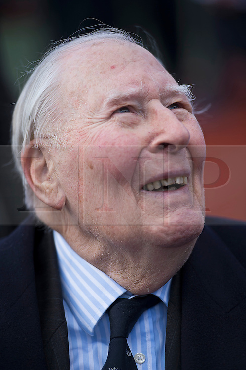 © London News Pictures. 26/02/2014. London, UK. SIR ROGER BANNISTER, the first man to run a sub-four minute mile, at a photocall at Paddington Recreation ground in London to launch the 2014 Bupa Westminster Mile in May 2014, which will officially celebrate the 60th anniversary. The track at Paddington Recreation ground was where Sir Roger Bannister trained for the record attempt. Photo credit: Ben Cawthra/LNP
