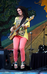 29 April 2012. New Orleans, Louisiana,  USA. <br /> New Orleans Jazz and Heritage Festival. <br /> Casandra Faulconer of Cowboy Mouth.<br /> Photo; Charlie Varley/varleypix.com