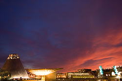 Museum of Glass, and Chihuly Bridge of Glass at sunset, Tacoma, Washington, USA