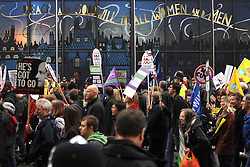 © Licensed to London News Pictures. 30/11/2011, London, UK. The march passes hoardings on Coutts Bank on The Strand, London. Up to two million public sector workers are staging a strike over pensions in what is set to be the biggest walkout for a generation. Photo credit : Stephen Simpson/LNP