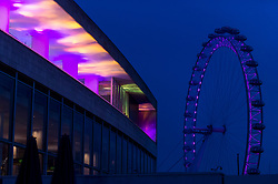 "© Licensed to London News Pictures. 07/12/2020. LONDON, UK.  Preview of ""Winter Light"" presented by Southbank Centre.  Over 15 artworks and new illuminated commissions by a range of leading international artists are on display around the site's buildings and the Riverside Walk until the end of February 2021.  Photo credit: Stephen Chung/LNP"
