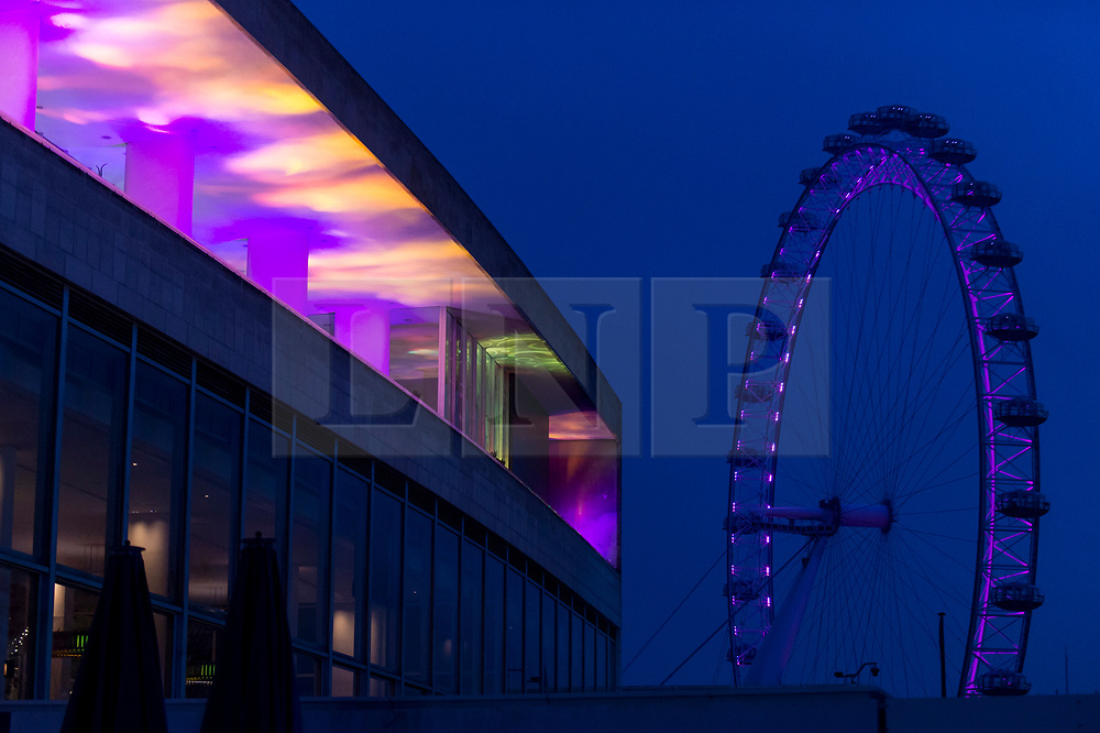 """© Licensed to London News Pictures. 07/12/2020. LONDON, UK.  Preview of """"Winter Light"""" presented by Southbank Centre.  Over 15 artworks and new illuminated commissions by a range of leading international artists are on display around the site's buildings and the Riverside Walk until the end of February 2021.  Photo credit: Stephen Chung/LNP"""