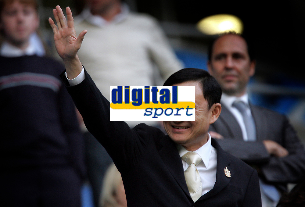 Photo: Paul Thomas.<br /> Manchester City v Derby County. The FA Barclays Premiership. 15/08/2007.<br /> <br /> Former Thai Prime Minister Thaksin Shinawatra, now new City Owner, waves to the crowd before their first Premiership home game this season.