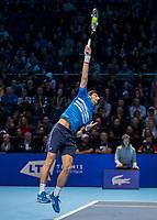 Tennis - 2019 Nitto ATP Finals at The O2 - Day One<br /> <br /> Singles Group Bjorn Borg: Novak Djokovic vs. Matteo Berrettini<br /> <br /> Novak Djokovic (Serbia) at full stretch as he serves <br /> <br /> COLORSPORT/DANIEL BEARHAM