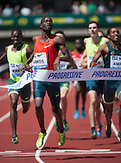 Nijel Amos of Botswana wins the Men's 800m at the 2014 Prefontaine Classic with a time of 1:43.63.    The Prefontaine Classic, the longest-running international invitational meet in the United States, turns 40 this year.<br /> The 2014 elite competition held in Eugene, Oregon at the University of Oregon's historic Hayward Field is in it's 5th year hosting the IAAF's Diamond League event.