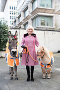 Mcc008822 . Daily Telegraph<br /> <br /> SOLO ROTA !!<br /> <br /> <br /> DT News<br /> <br /> The Duchess of Cornwall meets Ollie the Donkey and Harry the Mini Shetland Pony at a charity event at the Guards Chapel .<br /> <br /> The Duchess of Cornwall attended a Carol Service for the animal welfare charity Brooke Action for Working Horses and Donkeys at the Guards chapel in Westminster today .<br /> <br /> London 12 December  2018