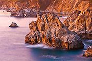 Evening light on the Big Sur coast, Julia Pfeiffer Burns State Park, California USA
