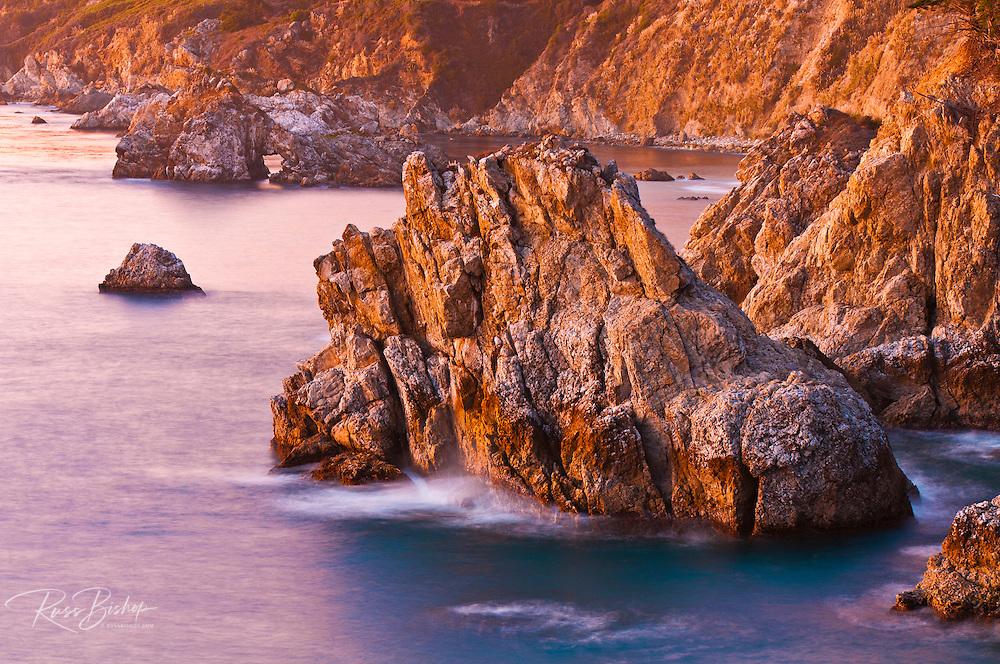 Evening light on the Big Sur coast, Julia Pfeiffer Burns State Park, California USA