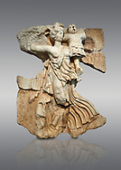 Roman Sebasteion relief  sculpture of the goddess Victory, Aphrodisias Museum, Aphrodisias, Turkey. <br /> <br /> A winged goddess Victory( Nike) flies past carrying a military trophy. She wears a long light dress and has one breast and one leg exposed. Her clothing is set in motion by her swift flight. .<br /> <br /> If you prefer to buy from our ALAMY STOCK LIBRARY page at https://www.alamy.com/portfolio/paul-williams-funkystock/greco-roman-sculptures.html . Type -    Aphrodisias     - into LOWER SEARCH WITHIN GALLERY box - Refine search by adding a subject, place, background colour, museum etc.<br /> <br /> Visit our ROMAN WORLD PHOTO COLLECTIONS for more photos to download or buy as wall art prints https://funkystock.photoshelter.com/gallery-collection/The-Romans-Art-Artefacts-Antiquities-Historic-Sites-Pictures-Images/C0000r2uLJJo9_s0