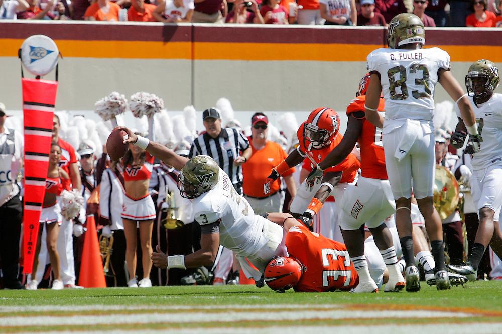 Sept 22, 2012; Blacksburg, VA, USA; Virginia Tech Hokies quarterback Logan Thomas (3) dives for the end zone against the Bowling Green Falcons at Lane Stadium. Mandatory Credit: Peter Casey-US PRESSWIRE