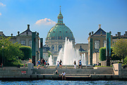 Amalienborg Palace is the winter home of the Danish royal family, and is located in Copenhagen, Denmark.