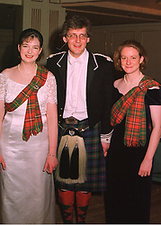 Left to right, LADY IONA IND her brother VISCOUNT DUPPLIN and their sister LADY MELISSA HAY, at a ball in London on 30th April 1998.MHI 47