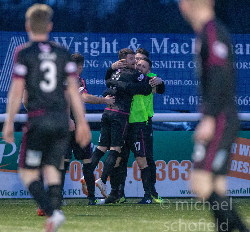 Arbroath's Bobby Linn cele scoring their fourth goal from a corner kick. Stenhousemuir 1 v 4 Arbroath, Scottish Football League Division One play12/1/2019 at Ochilview Park.