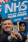 Jon Ashworth, Shadow Health Secretary at the front of the march - NHS In Crisis - Fix It Now March and Demonstration - organised by the Peoples Assembly started in Gower Street and finished outside Downing street.