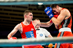 Gregor Skrjanec  of Slovenia (BLUE) fights against Stefan Nikolic of Austria (RED) in Elite 91 kg Category<br />  during Dejan Zavec Boxing Gala event in Sentilj, on September 30, 2017 in Mond, Casino & Hotel, Sentilj, Slovenia. Photo by Vid Ponikvar / Sportida