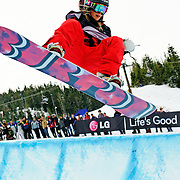 US Snowboarding Team member Hannah Teter takes a training run in the half pipe before the start of finals at the 2009 LG Snowboard FIS World Cup at Cypress Mountain, British Columbia, on February 16th, 2009.