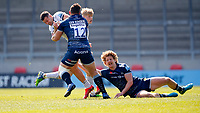 Caption Template Rugby Union - 2020 / 2021 Gallagher Premiership - Round 16 - Sale Sharks vs Gloucester - AJ Bell Stadium<br /> <br /> Jonny May of Gloucester Rugby tackled by Robert du Preez and Sam James of Sale Sharks <br /> <br /> Credit COLORSPORT/LYNNE CAMERON