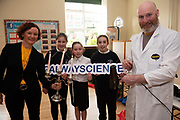 12/11/2018 Repro free: Galway Science and Technology Festival, the largest science event in Ireland, runs from 11-25 November featuring exciting talks, workshops and special events. Full programme at GalwayScience.ie. <br /> <br /> Sixth class pupils Patrycja Zaskalska <br /> Ella Fortune and Fáinche Joyce from Mercy Primary School galway City with Anne Casserly, manager Galway Science and Technology Festival  and Jay Ryan Xperimental.. Photo:Andrew Downes, Xposure.