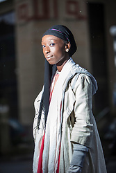 Ayesha, Nigerian fashion model, born in Edinburgh, Scotland. Photographed in Edinburgh for a feature on women who have converted to Islam, and has been interviewed in a BBC documentary.