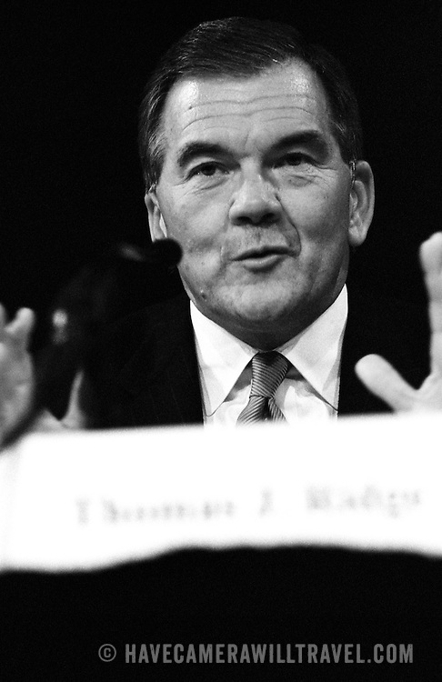 "Secretary of Homeland Security Thomas ""Tom"" Ridge testifying at the 9/11 Commission's 11th Public Hearing in New York City."