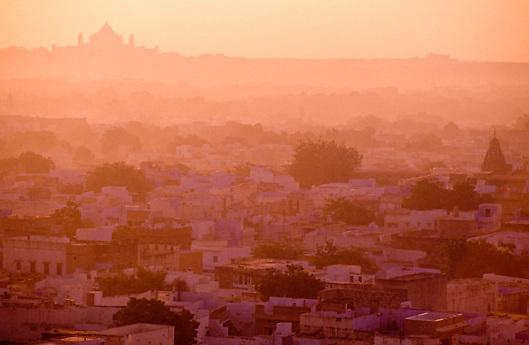 Historic city of Jodhpur in Rajasthan at dawn in India