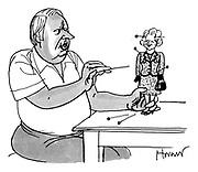 (Edward Heath sticks pins into Mrs Thatcher)