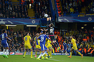 Goalkeeper Dejan Radonjic of Maccabi Tel Aviv attempts to punch the ball out from a corner. UEFA Champions League group G match, Chelsea v Maccabi Tel Aviv at Stamford Bridge in London on Wednesday 16th September 2015.<br /> pic by John Patrick Fletcher, Andrew Orchard sports photography.