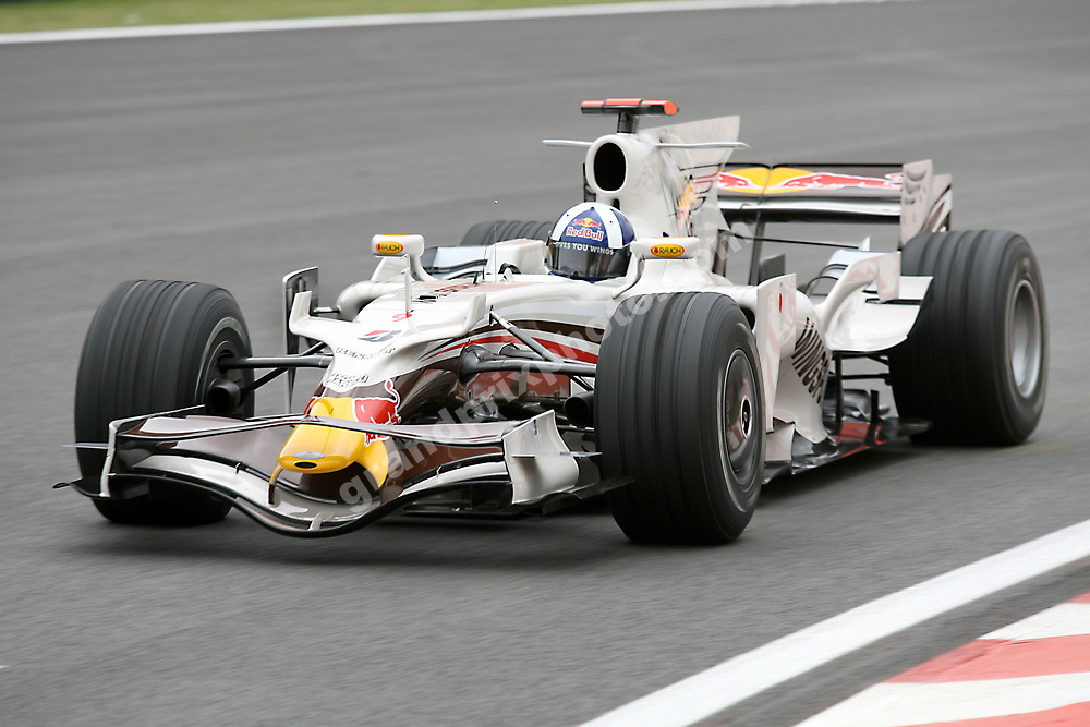 David Coulthard (Red Bull-Renault) with Wings For Life livery at the 2008 Brazilan Grand Prix at Interlagos in Sao Paulo. Photo: Grand Prix Photo