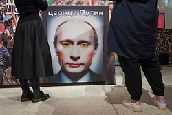 "© Licensed to London News Pictures. 27/03/2018. LONDON, UK. ""Gay Clown Putin artwork"", Amsterdam, 2016. In 2017, the Russian state outlawed a mock-up of Putin wearing colourful, clown make-up listing it as 'extremist' item 4071. Preview of ""Hope to Nope: Graphics and Politics 2008-18"", an exhibition examining the political graphic design of a turbulent decade encompassing the 2008 financial crash, Barack Obam presidency, Brexit and Donald Trump's presidency.  The exhibition takes place at the Design Museum 28 March to 12 August 2018.  Photo credit: Stephen Chung/LNP"