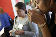 Employees stop for well-earned elevenses at a counselling workshop held for company London staff