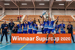 Lycurgus wins the Supercup by beating Orion 3-1. Dennis Borst can receive the cup himself. Supercup final between Amysoft Lycurgus - Active Living Orion on October 04, 2020 in Van der Knaaphal, Ede