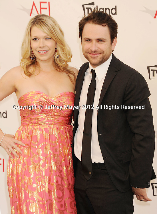 LOS ANGELES, CA - JUNE 07: Mary Elizabeth and Charlie Day arrive at the 40th AFI Life Achievement Award honoring Shirley MacLaine at Sony Pictures Studios on June 7, 2012 in Los Angeles, California.