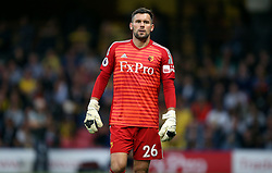 """Watford goalkeeper Ben Foster during the Premier League match at Vicarage Road, Watford PRESS ASSOCIATION Photo. Picture date: Saturday September 15, 2018. See PA story SOCCER Watford. Photo credit should read: Nigel French/PA Wire. RESTRICTIONS: EDITORIAL USE ONLY No use with unauthorised audio, video, data, fixture lists, club/league logos or """"live"""" services. Online in-match use limited to 120 images, no video emulation. No use in betting, games or single club/league/player publications."""