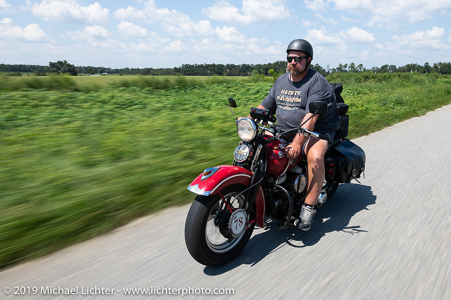 Curtis Venable riding his 1940 Harley-Davidson ULH Flathead in the Cross Country Chase motorcycle endurance run from Sault Sainte Marie, MI to Key West, FL. (for vintage bikes from 1930-1948). Stage-7 covered 249 miles from Macon, GA to Tallahassee, FL USA. Thursday, September 12, 2019. Photography ©2019 Michael Lichter.