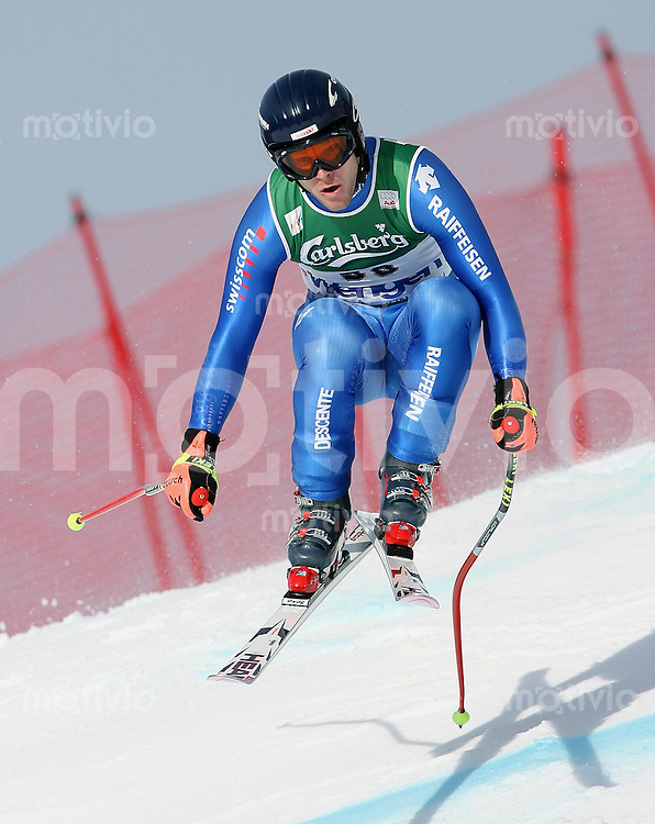 Ski Alpin; Saison 2006/2007  77. Weltcup Abfahrt Herren Training Michael Bonetti (SUI) an der Minschkante
