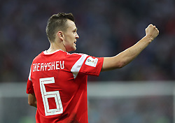 SOCHI, July 7, 2018  Denis Cheryshev of Russia celebrates scoring during the 2018 FIFA World Cup quarter-final match between Russia and Croatia in Sochi, Russia, July 7, 2018. (Credit Image: © Wu Zhuang/Xinhua via ZUMA Wire)