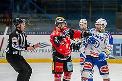 29.01.2017, Ice Rink, Znojmo, CZE, EBEL, HC Orli Znojmo vs EC VSV, Qualifikationsrunde, im Bild v.l. Michal Vodny (HC Orli Znojmo) Markus Schlacher (EC VSV) // during the Erste Bank Icehockey League qualification round match between HC Orli Znojmo and EC VSV at the Ice Rink in Znojmo, Czech Republic on 2017/01/29. EXPA Pictures © 2017, PhotoCredit: EXPA/ Rostislav Pfeffer
