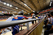UK, August 6 2012: Competitors in the Women's Omnium competition await the start of the Elimination Race in the Velodrome on Day 10 of the London 2012 Olympic Games. Copyright 2012 Peter Horrell.