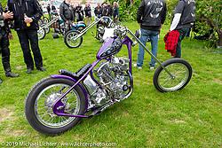 Charlie Swordson's Best of Show 1970's Harley-Davidson Shovelhead chopper at the Twin Club's annual Custom Bike Show in Norrtälje, Sweden. Saturday, June 1, 2019. Photography ©2019 Michael Lichter.