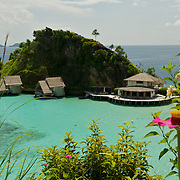 Panoramic view around the lagoon of Misool eco resort.