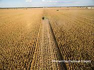 63801-08703 Corn Harvest, John Deere combine harvesting corn - aerial Marion Co. IL