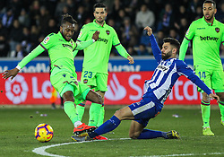 February 11, 2019 - Vitoria, Alava, Spain - R. Duarte of Alaves and Doukoure of Levante in action during La Liga Spanish championship, , football match between Alaves and Levante, February 11th, in Mendizorroza Stadium in Vitoria, Spain. (Credit Image: © AFP7 via ZUMA Wire)